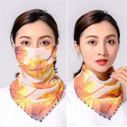 New Style Printed Face Cover Silk Scarf For Summer Sun Protection And Hiking Riding