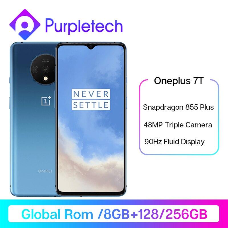 Global rom oneplus 7 t 7 t snapdragon 855 além de smartphone 90 hz display fluido 6.55 amamamoled tela 48mp triplo câmeras ufs 3.0 nfc