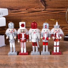12cm dziadek do orzechów lalek ozdoby świąteczne dekoracja stołu kreskówki rysunek orzechy włoskie żołnierze zespół lalki dziadek do orzechów miniatury tanie tanio Ludzi Europa Drewna wood white and red