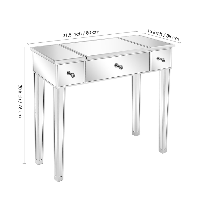Flip Glass Mirrored Makeup Table Dressing Desk Dresser Anti-Scratch and Rust-Free Easy Assemble Clean[US-Stock] 2