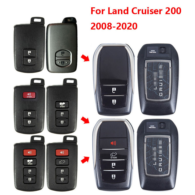 OEM Car Key Case Key Shell Holder Upgrade For Toyota Land Cruiser 200 FJ200 2008 2010 2011 2012 2013 2015 2016 2017 2019 2020