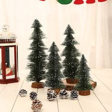 Home Mini Ornament Decoration Flocking Green Wooden Base Tabletop DIY Party Artificial Christmas Tree Stand Gift