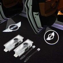 2PCS Da Porta de Carro Logo Luz Bem-vindo Projector Lâmpadas de Decoração Para Mini Cooper One S JCW R56 R52 R55 R58 r59 R60 F55 F56 F60 Compatriota