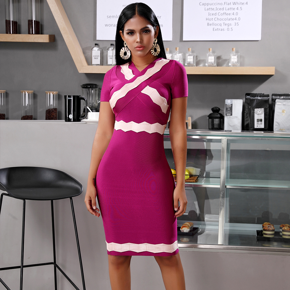 Deer Lady Purple Bandage Dress 2020 New Elegant Short Sleeve Sexy Bandage Dress Bodycon Celebrity Club Evening Party Dress