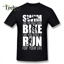 Triathlon Swim Bike Run Funny Triathlete T Shirt Slim fit Male Free Shipping Top Design Birthday gift Tee For