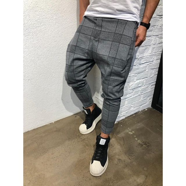 "ZOGAA Casual Ankle-Length Plaid Pants Men Trousers Streetwear Jogger Pants Mens Sweatpants Slim Fit Men""s Harem Pants Clothing"