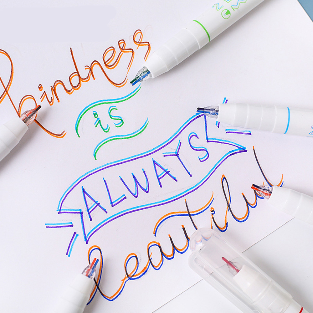1 Pcs Kawaii Double Line Pen Draw Marker Calligraphy Lettering Color Fluorescent Highlighter Scrapbooking Pen School Stationery