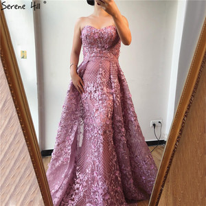 Image 1 - Dubai Hồng Dây Ren Fromal Váy 2020 Nàng Tiên Cá Lệch Vai Pha Lê Vũ Hội Đồ Bầu Ảnh Thật DLA70186