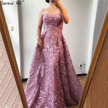 Dubai Pink Strapless Sexy Lace Fromal Dresses 2020 Mermaid Off Shoulder Crystal Prom Gowns Real Photo DLA70186