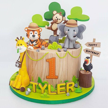 pcs Zoo Cute Forest Animal Cake Toppers for Kid`s Birthday Decoration Monkey Giraffe Tiger Lion Cupcake Cakes