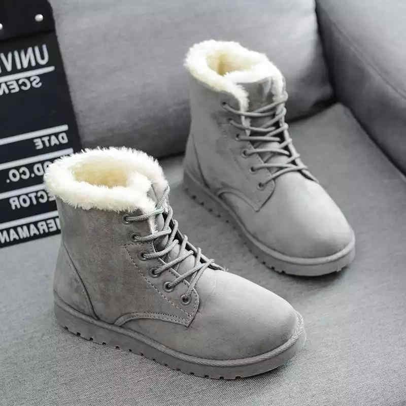 ADISPUTENT kış botu s kadın kar botları ayakkabı kadın çizmeler moda düz kış botu bileğe kadar bot İnek süet sıcak patik sıcak botlar