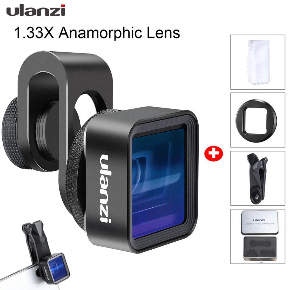 Ulanzi lente anamorphic para iphone 11 pro 1.33x tela larga vídeo widescreen slr filme videomaker lente do telefone universal