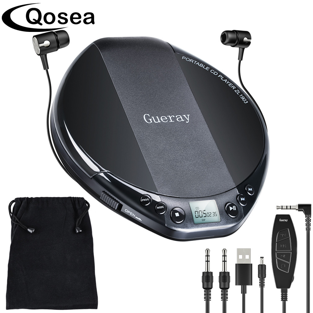 Qosea Portable CD Player Hifi with Headphones Walkman Player Shockproof Anti-Skip Personal LCD Display Luxuxy Music Disc Player 1