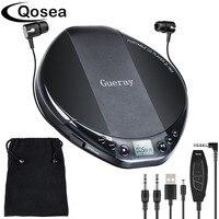 Qosea Portable CD Player Hifi with Headphones Walkman Player Shockproof Anti Skip Personal LCD Diaplay Luxuxy Music Disc Player