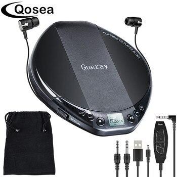 Qosea Portable CD Player Hifi with Headphones Walkman Player Shockproof Anti-Skip Personal LCD Display Luxuxy Music Disc Player