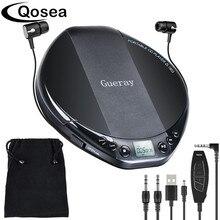 Qosea lecteur CD Portable Hifi, avec casque de bain, Anti choc, affichage LCD, lecteur de disque de musique de luxe