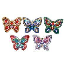 5PCS Handmade Keychain DIY Diamond Painting Butterfly Key Chain Ring Women Bag Gifts Art Craft Cross Stitch