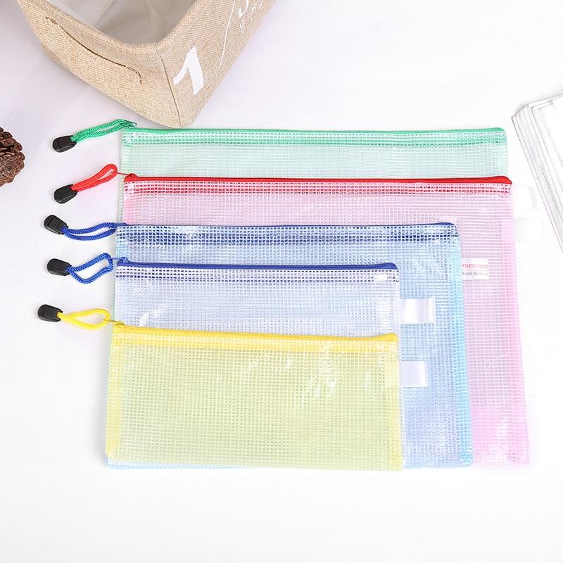 Hot Sale 10 Pcs/set A5 23*17.5cm Waterproof PVC Grid Document Bag Filing Case Folder With Zipper Office School Stationery