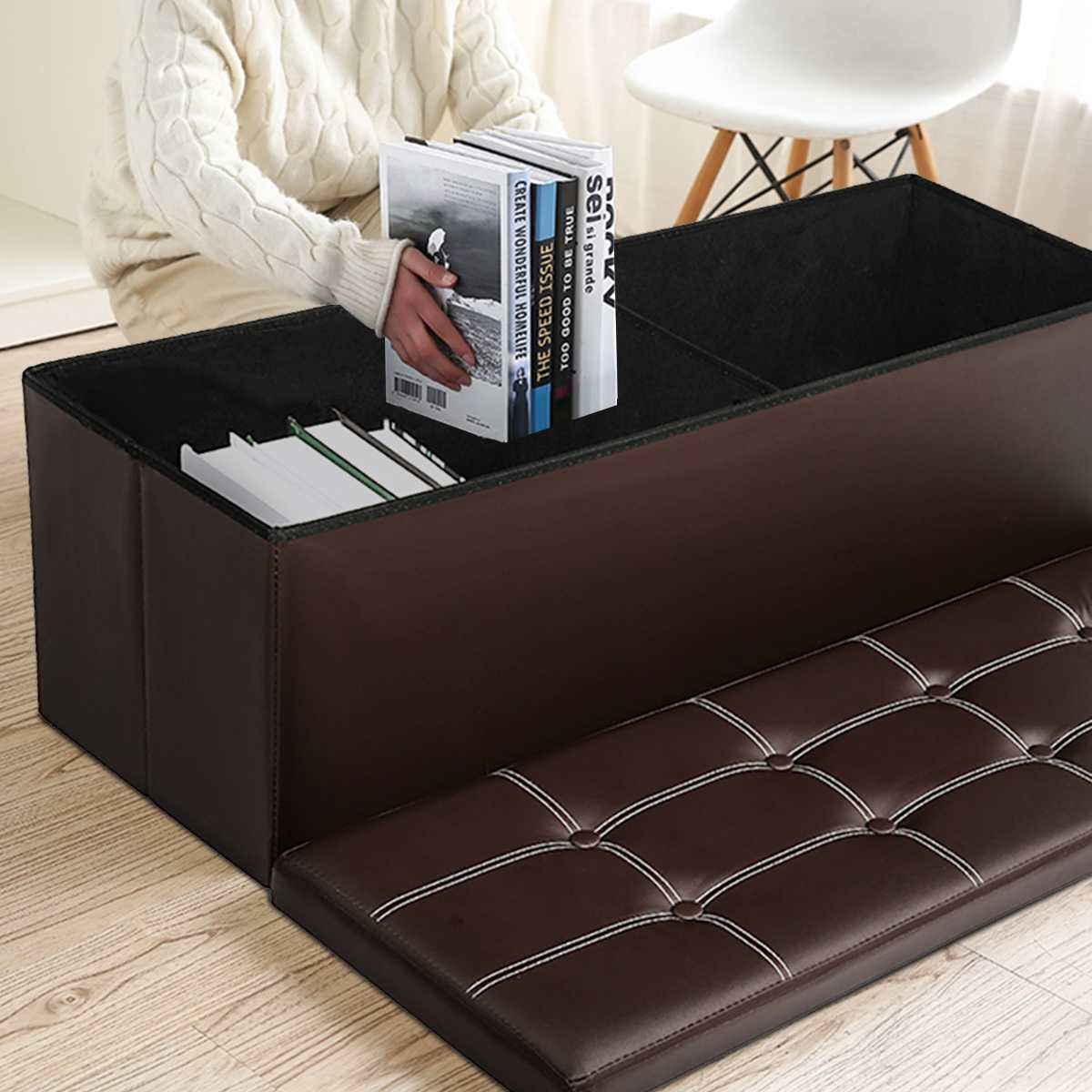 Rectangular Storage Stool Storage Stool Can Sit Adult Sofa Stool Household Storage Chair Folding Storage Box