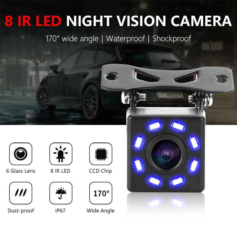 Jansite للماء كاميرا الرؤية الخلفية عكس وقوف السيارات خط 8 LED 170 درجة زاوية للرؤية الليلية سيارة كاميرا احتياطية كاميرا