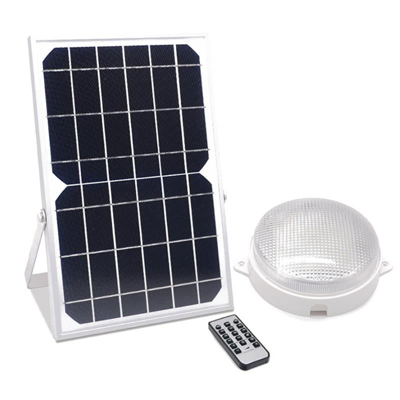 Solar LED Ceiling Lamp With Remote Control Round Bulb IP66 Waterproof Garage Corridor Wall Light Indoor Outdoor Ceiling Light