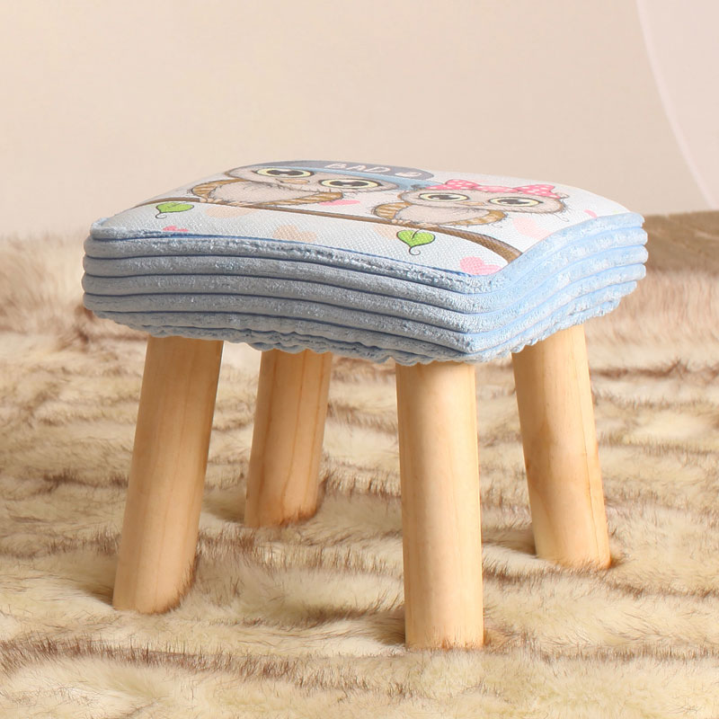 Small Bench Cartoon Shoe Change Stool Solid Wood Fabric Creative Children Adult Small Chair Sofa Square Stool