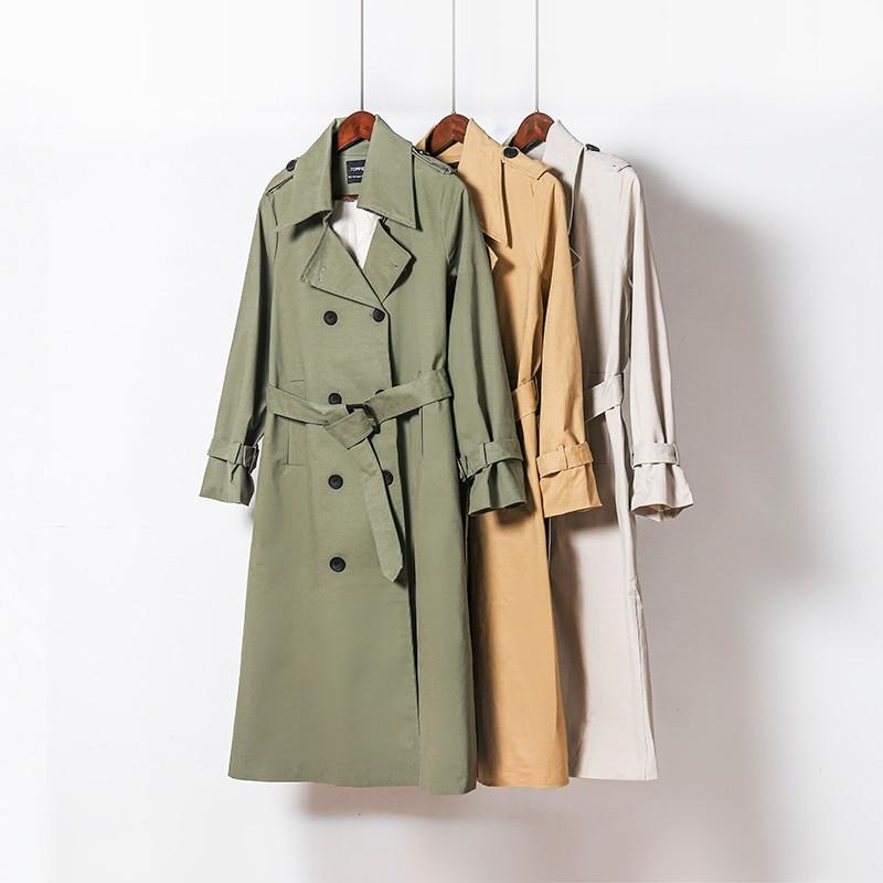 H8e6f225069274f63a918fd332f6e40f6e Toppies 2021 Spring Long Trench Coat Women Double Breasted Slim Trench Coat Female Outwear Fashion Windbreaker