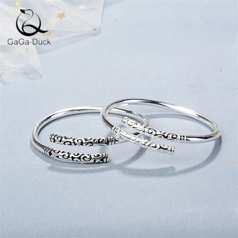 New Creative Wishful Gold Hoop Stick Couple Bracelets 925 Sterling Silver Fashion Jewelry Wukong's Weapon  Bangles B167