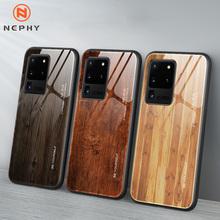 Drewniane szkło hartowane etui do Samsung Galaxy S9 S10 S20 Ultra Plus 5G uwaga 9 10 Pro Lite A10 A30 A50 A70 A80 obudowa telefonu komórkowego tanie tanio Nephy CN (pochodzenie) Aneks Skrzynki Unique Wood For A30S A50S S A51 A71 A81 A91 81 E s9plus s10plus note9 GALAXY A50 GALAXY S10 PLUS