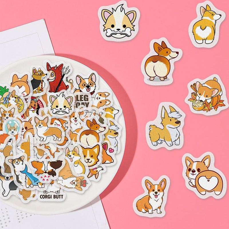 40pcs Cute Cartoon Animals Dog Corgi Stickers Waterproof Creativity Decoration Scrapbooking DIY Album Diary Label Kids Sticker