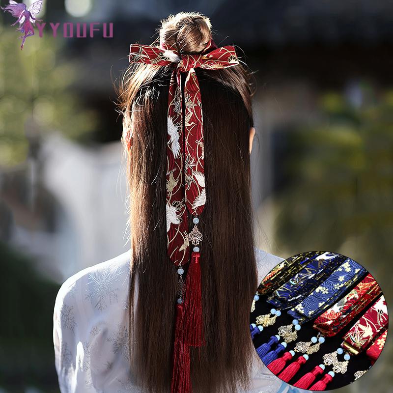 Chinese Style Headband Antiquity Hanfu Costume Headdress Chiffon Satin Embroidery Traditional Hair Band Headwear Women Jewelry