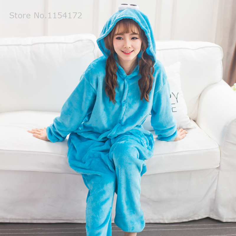 Sesame Street Unisex Adults Flannel Animal Pajamas Cosplay Pijama Onesies Pyjamas Women Sets Sleep Robe Kigurumi
