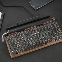 Mechanische Tastatur Drahtlose Bluetooth tastaturen Dot retro schreibmaschine Computer Tastatur 83 tasten Gaming tastaturen Für PC Laptop
