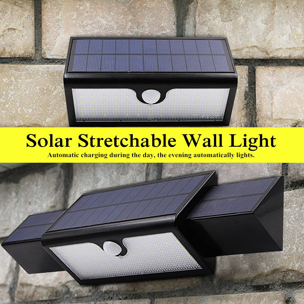 71 LED Solar Power Wall Light Stretchable Waterproof Safety 3 Modes 5.5V 5.4W Discharge/Over Current/Short Circuit Protection