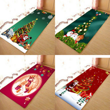 Christmas mat, Christmas holiday atmosphere, Santa Claus, Christmas elemental printed flannel home Anti-Slip absorbent mat halloween holiday scene flannel home mat flannel mat anti slip absorbent mat kitchen absorbent floor mat