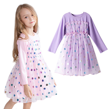 цена на Brand New Children Princess Dress Girls Dot Tutu Dresses Baby Girl Long Sleeve Clothes Kids Party Dresses For Girls 2-8Years