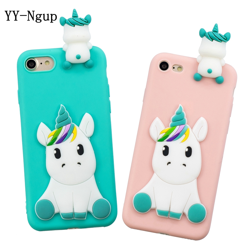Case on for iPhone 5 5s se 2020 iPhone 7 Cover 3D Unicorn Silicone Case for