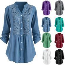 KLV 2019 Fashion Women Shirt Ladies Large Size Button Shirts Lace V Neck Tops Long Sleeve Blouse chemise femme