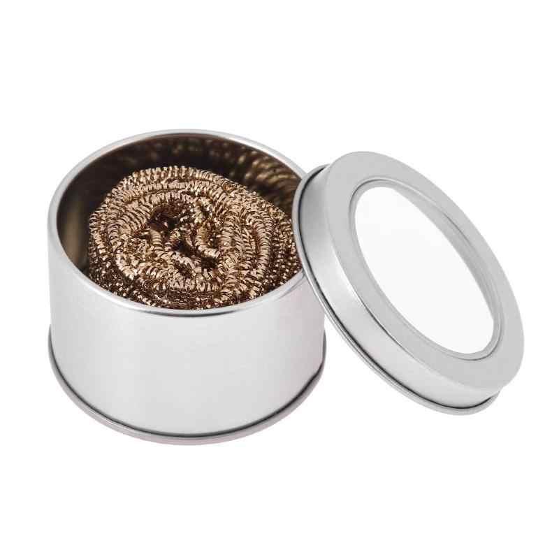 Fio de metal com suporte conjunto soldagem desoldering solda ponta do ferro dross cleaner limpeza bola de aço malha filtro estanho remover