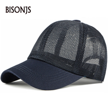 BISONJS к 2020 году новых женщин сетки бейсбольная кепка мужская мода полые сплошной цвет ВС шапки открытый дышащий регулируемая snapback шапки