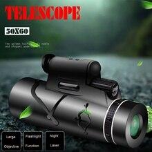 Монокулярный телескоп 50X60, портативный лазерный Монокуляр с легким биноклем, мощный компас с ночного видения BAK4 для охоты