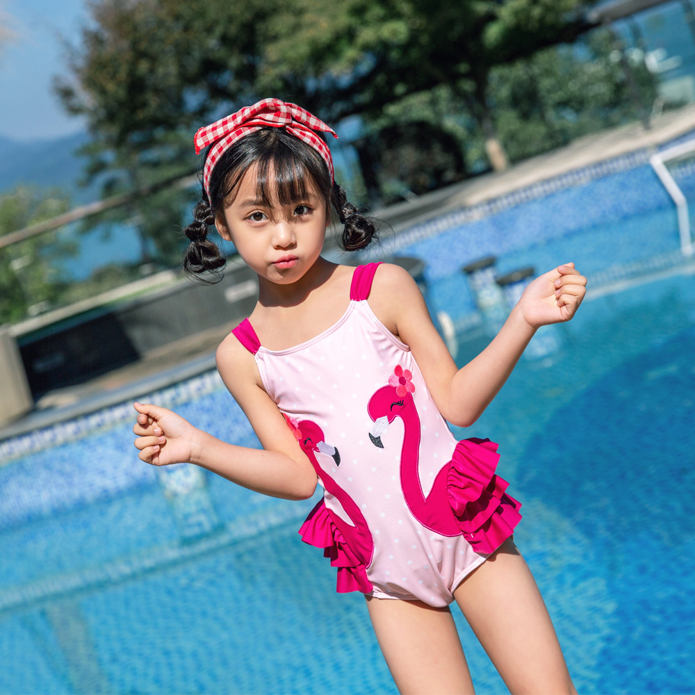 2019 New Style Baby Girls Bathing Suit Polka Dot Embroidered Flamingo Send Swimming Cap Hot Springs Super Cute Girls KID'S Swimw