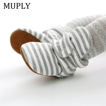 Baby Shoes For NewBorn Boys Girls Stripe Toddler First Walkers Booties Cotton Comfort Soft Anti-slip Infant Warm Boots - discount item  14% OFF Baby Shoes