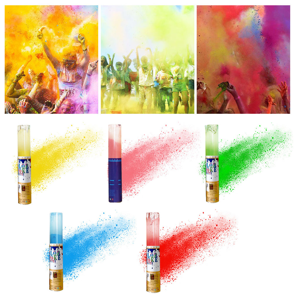Besegad Automatic Rotary Spray Bottle With 7oz Running Throw Colored Corn Starch Powder For HOLI Christmas Parties Supplies