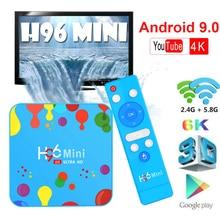 tv box H96 MINI Set top box Quad Core iptv box Smart TV Box Android 9.0 4GB 128GB 6K HD 4K Allwinner H6 H.265 for dazn belgium цена в Москве и Питере