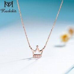 Kuololit Echt 585 14K 10K Rose Gold Natuurlijke Diamant Edelsteen Hangers Voor Vrouwen Kroon Ketting Voor Engagement Kerst gift