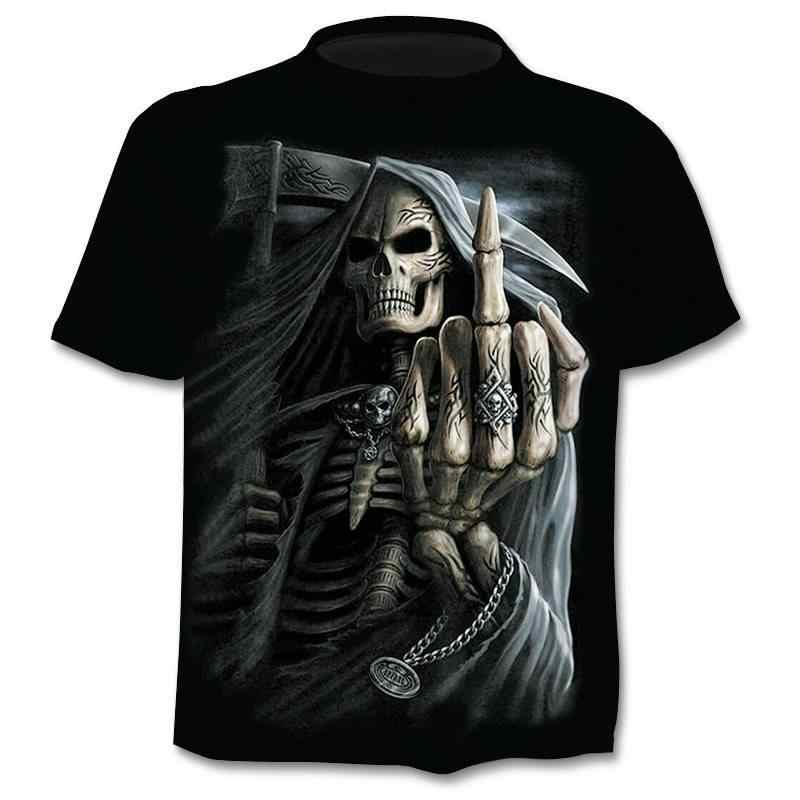 NOVEDAD DE VERANO 2019, Calavera 3d Camiseta con, camisa de manga corta para hombres, divertidas camisetas, camisetas de Anime gótico japonés Punk 3dT-shirt, ropa para hombres
