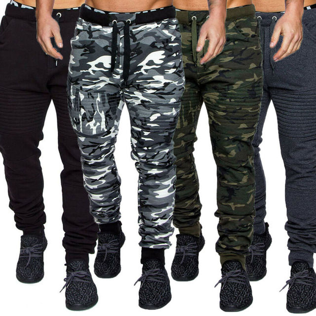 NEW Men's Military Army Sweat Pants Casual Camo Work Outdoor Zip Fly Cargo Pants Camouflage pants 1