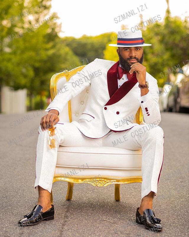 2020 White Burgundy Velvet Lapel Men Suits Double Breasted Groom Smoking Prom Best Man Blazer Slim Fit Men Wedding Suits Tuxedo