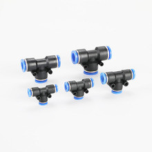 цена на PE 10PCS 4-14MM Pneumatic Fitting For Push In Tee 3-Way Fitting Plastic Pipe Air/Water Hose and Tube Connector Quick Fitting